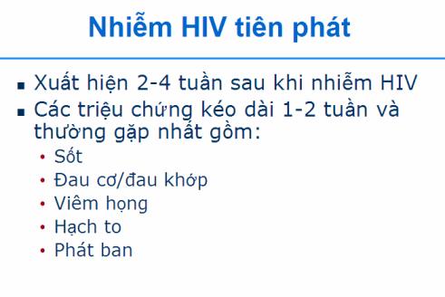 triệu chứng nhiễm hiv tiên phát